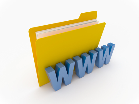 3D Yellow folder with WWW initials on a white background