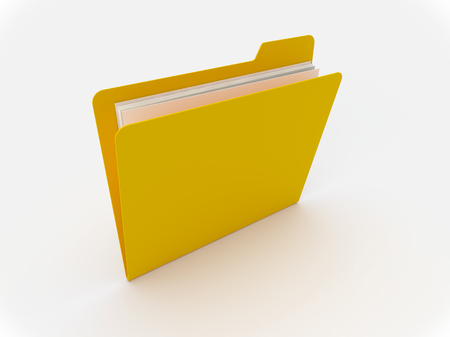 3D Yellow folder on a white background Imagens