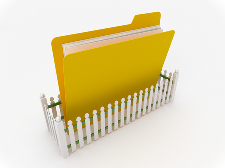 white fence: 3D Yellow folder surrounded by a white fence, safety concept
