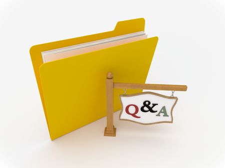 3D Yellow folder with wooden signpost showing questions and answer Archivio Fotografico