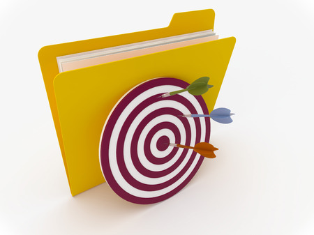 3D Yellow folder with target and darts on  a white background
