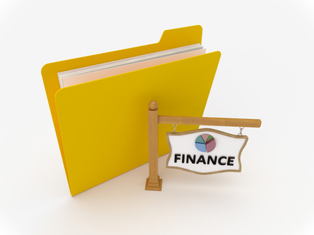 3D Yellow folder with wooden signpost showing finance