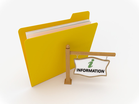 3D Yellow folder with wooden signpost showing information