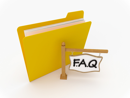 3D Yellow folder with wooden signpost showing FAQ Imagens