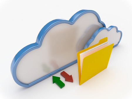 3D Cloud computing concept with yellow folder on a white background