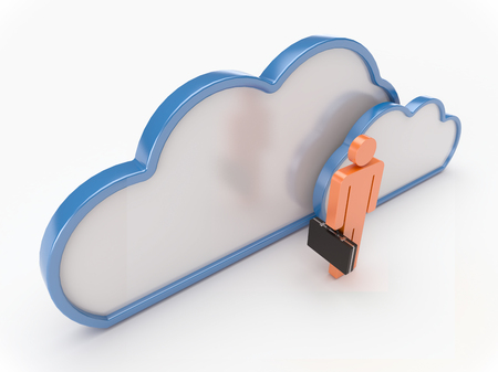 3D Cloud computing concept with business on a white background