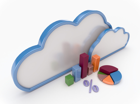 3D Cloud computing concept with graph charts a white background Imagens
