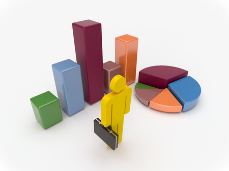 Closeup view of businessman with charts and diagram