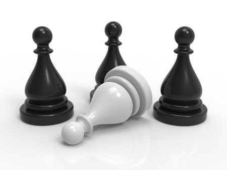 Close-up view of four chess game pieces, three black and one white.