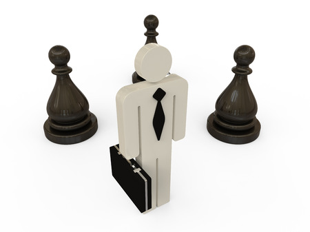 Business man with black chess pieces on white background Imagens
