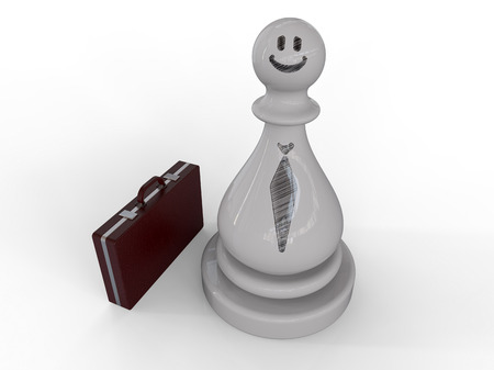 Business man draw on white chess piece with briefcase on white background, Career concept
