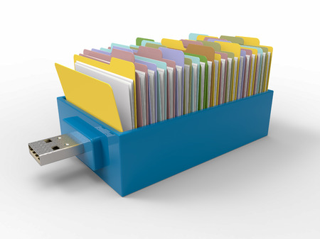 Blue plastic flash pen stick with drawer of folders, isolated on white background. 3D Render graphic