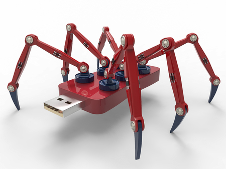 Mechanical Spider Robot flash pen stick, isolated on white background. 3D Render graphic