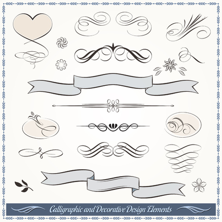 Collection of calligraphic vintage elements in vector format. Ideal for creative layout, greeting cards, invitations, books, brochures, stencil and many more uses.