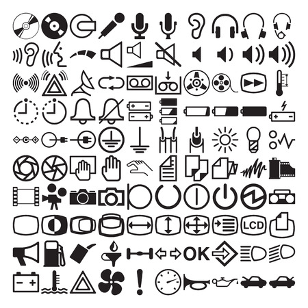 Collection of 100 symbols for dashboard on white