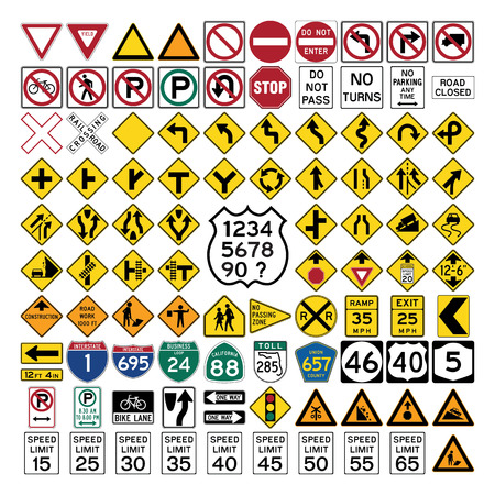 Collection of professionnal road sign and symbols on white Ilustração