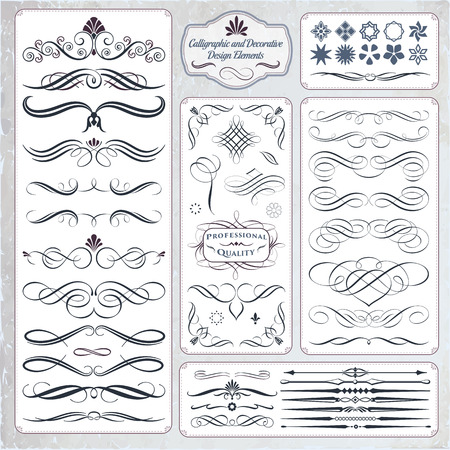 Calligraphic decorative elements in format. Ideal for creative layout, greeting cards, invitations, books, brochures, stencil and many more uses. Stock Vector - 54791717
