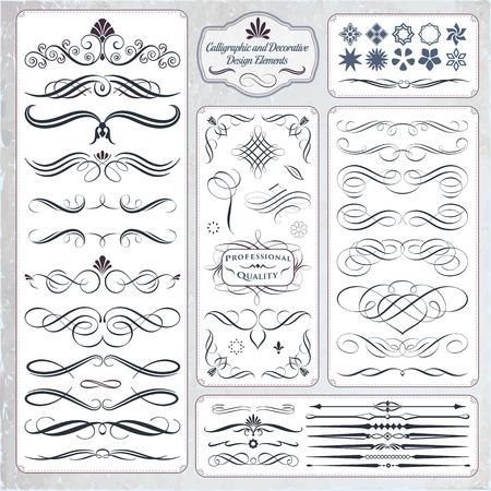 Kalligrafische decoratieve elementen in formaat. Ideaal voor creatieve lay-out, wenskaarten, uitnodigingen, boeken, brochures, stencil en nog veel meer toepassingen.