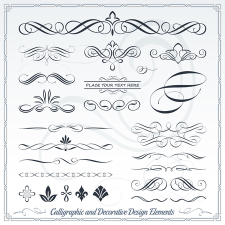 Calligraphic decorative elements in format. Ideal for creative layout, greeting cards, invitations, books, brochures, stencil and many more uses. Imagens - 54791718