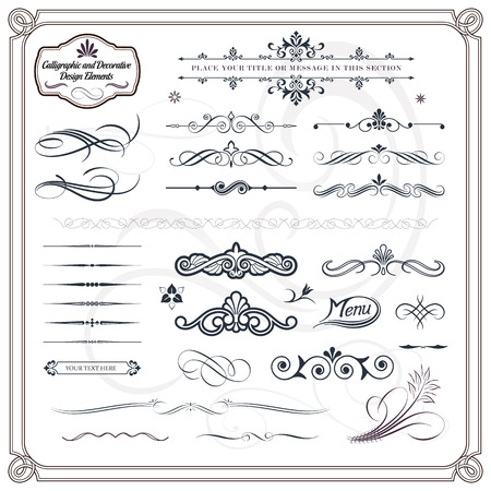 Collection of calligraphic and decorative design patterns
