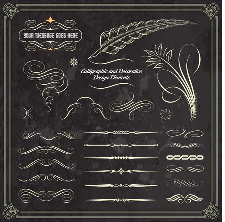 calligraphic design: Collection of calligraphic and decorative design patterns. Illustration
