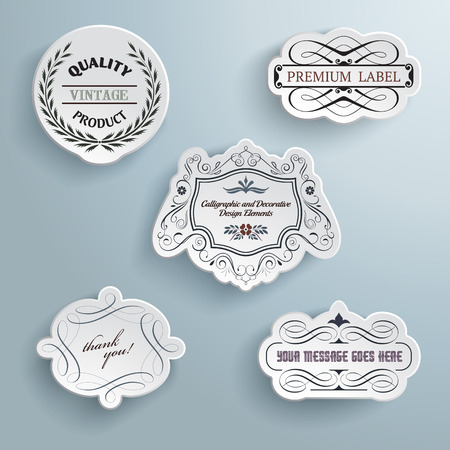 Collection of calligraphic  paper labels.