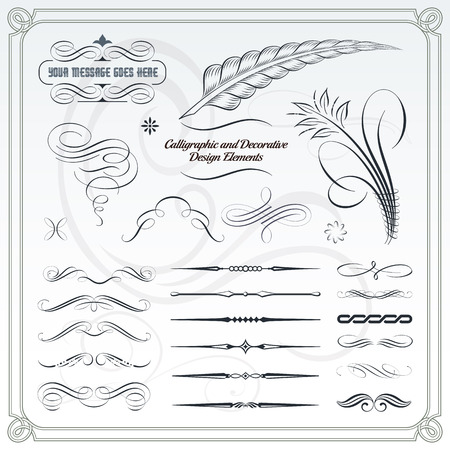Collection of calligraphic and decorative design patterns. Illustration