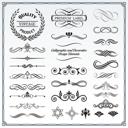Collection of calligraphic and decorative design patterns. Ilustração