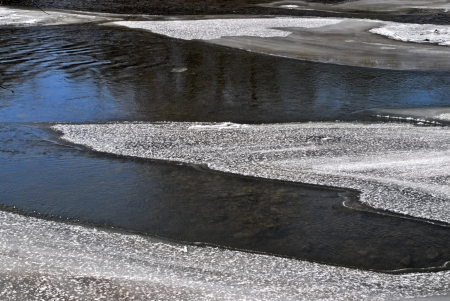 ice sheet: Melting ice shaped by flowing river  Stock Photo