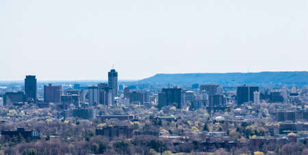 Skyline of Hamilton, Ontario, Canada and escarpment  Stock Photo