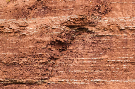 stratigraphy: Red sedimentary clay background layers eroding.
