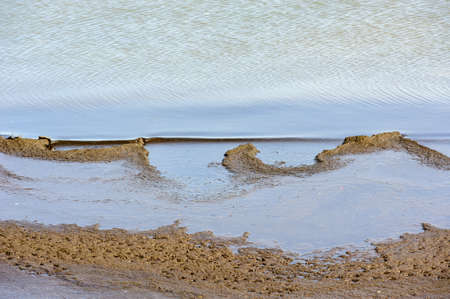 Abstract curved sandy shoreline meeting water. Фото со стока