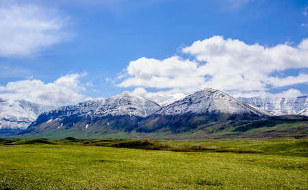 Snow line on mountains ending at prairie grass under blue sky and clouds, near Waterton Lakes, Alberta, Canada. Фото со стока