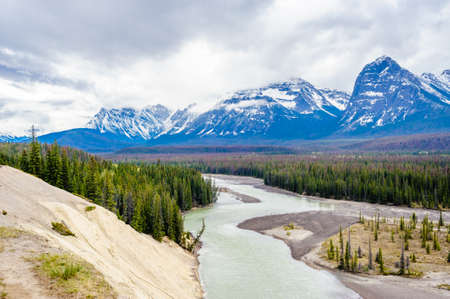 Forested valley and river near mountains under low clouds, at Athabasca River, Alberta, Canada. Фото со стока