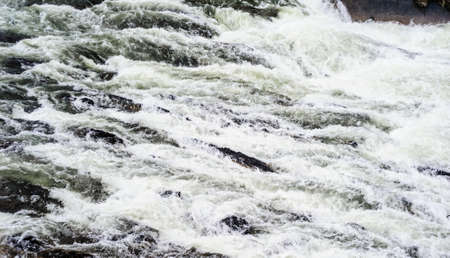 Churning shallow river rapids among rocks.