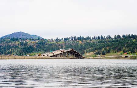 KELOWNA, BC, CANADA - MAY 14, 2019: The William R Bennett Bridge connects downtown Kelowna to West Kelowna across Okanagan Lake.