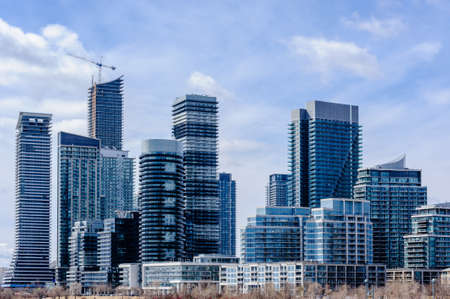 TORONTO, CANADA - MARCH 17, 2019: Modern residential condominium tower developments in Etobicoke, in the west end of the city.