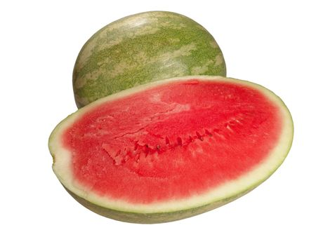 carotenoid: An opened and a whole watermelon isolated on white background