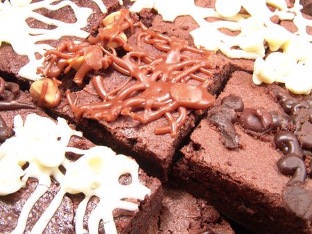 goodie: Close up view of pieces of chocolate brownie or cake Stock Photo