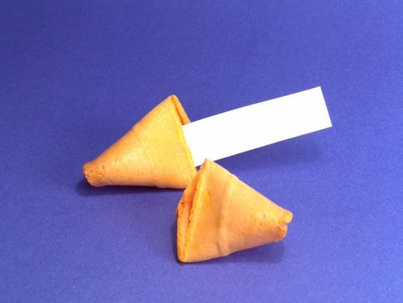 to foresee: Blank note of a fortune cookie. You can add your own idea.