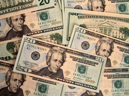 jackson: Jackson close-up on new 20 dollars United States bills Stock Photo