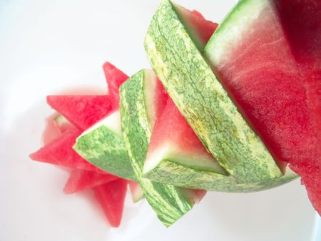 carotenoid: Juicy watermelon pieces stack for summer picnic