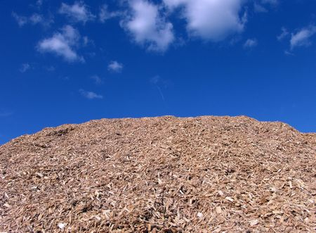 Mulch Wood Pieces And Blue Sky Background                                photo