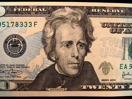 andrew: US Twenty Dollar Bills, Andrew Jackson (Isolated) Stock Photo