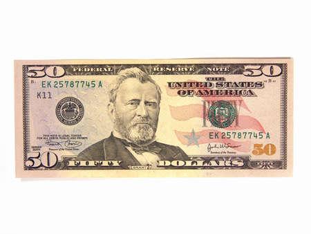 US Fifty Dollar Bills, Ulysses Grant (Isolated)                                Stock Photo - 2129871