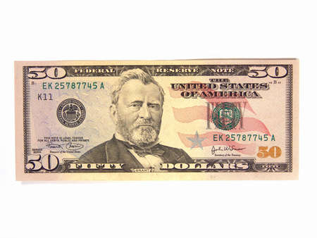 fifty dollar bill: US Fifty Dollar Bills, Ulysses Grant (Isolated)