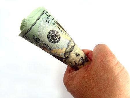 Hand holding US Twenty Dollar Bills