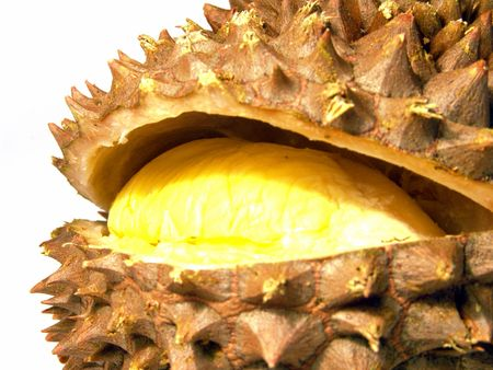 Macro view of ripe and juicy durian (brilliant colors photo)