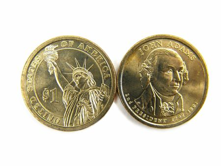 dollar coins: Isolated United States 2007 One Dollar Coins Macro Close-up                                Stock Photo