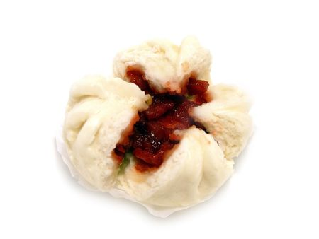 Closeup of isolated Chinese food barbecued pork bun